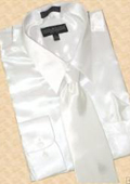 SKU#ST612 Satin White Dress Shirt Tie Hanky Set