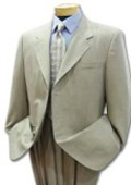 Men's Khaki Light Tan ~ Beige ~Sand~Stone 3 button Cool Light Weight Jacket + Pants $109