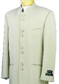 Mandarin Collar BANNED Collar Taup/Khaki Suit 8 BUTTON EXTRA FINE Discount Sale DesignerSuit $149