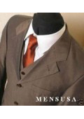 SKU Sharkskin MU33 Chocolate Brown Super 100s Wool Vested 3 Pieaces Mens Suits 165