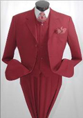 SKU#3TR3 Burgundy ~ Maroon ~ Wine Color~Wine DRESS three piece suit 3 Button 3 Pieces With Nice Cut Smooth Soft Fabric Mens Suits