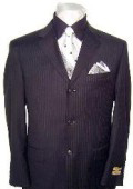 High End 3 Buttons Black & Small Pinstripe Super 140's Wool Business Suits $295