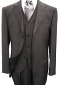 Piece Black Pinstripe Men's Vested 3 Button three piece suit Wool Feel Extra Fine Poly~Rayon $199
