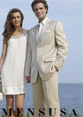 Light Weight Light Tan ~ Beige khaki (Sand) suit Cotton&Rayon&Linen 2 Button