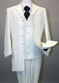 SKU#MU17071 Ivory~OFF White Long Fashion Shiny look Shadow tone on tone Pinstripe Vested Suit