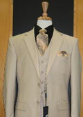Two Button Three Piece Sand ~ Beige Khaki Color Flat Front three piece suit