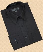 Solid Black Cotton Blend Dress Shirt With Convertible Cuffs