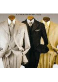 SKU#t64PAACMU Men's 3 Piece Suit with Wide Leg Pants. 34 Inch Fashion Jacket