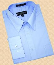 Light Blue ~ Sky Blue Cotton Blend Dress Shirt With Convertible Cuffs $39
