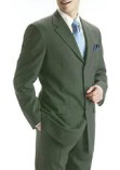 SKU#MANA_103_069 Men's Olive Green 100% Pure Wool Feel Rayon Viscose (SUPER 100) 3-Button