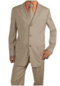 SKU# ERI_3P Men's Light Tan ~ Beige Suit Poly Blend Summer Suits