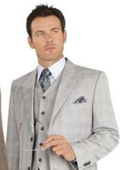 2 Button Vested Light Gray Windowpane Plaid Flat