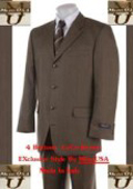 SKU PQ32  Buttons CoCo Brown Super 120s Real Wool Mens Suit 139