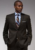 Authentic Mantoni Brand Brown Stripe Suit $175
