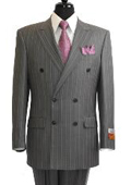 SKU#GS902 Men's Grey ~ Grey Stripe / Pinstripe Double Breasted Suit rayon Fabric