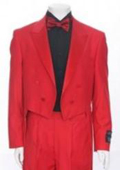 Red Tailcoat Peak Lapel Mens Tuxedo Pre Order Collection Delivery in 30 days $595