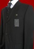 Solid Liquid Black Vested Super 150's wool feel poly~rayon Men's Suits $199