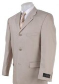 SKU# KL14 Tan ~ Beige~Light Taupe~Sand Wool Blend Khaki polyester Summer suit