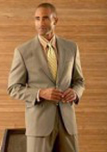 SKU# HW62 Coffe Tan ~ Beige/ Men's 2 Button Super Wool Double Side Vent