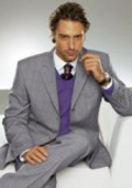 Men's Superior Wool Feel Poly~Rayon Two 2-Button Light Gray premier italian fabric Suit $119