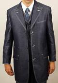 SKU#OZ534 Navy Denim Look 3PC Fashion Zoot Suit