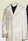 SKU#TTX778 Men's Long Length Faux Fur Coat Off White $249