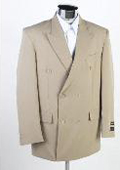 New Mens Double Breasted Tan ~ Beige(Beige) Dress Suit $599