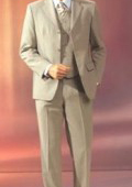 Beige Vested 3 Pieaces Super 120's Wool three piece suit $275