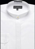 SKU#GA328 Men's Embroidered Banded Collar dress shirts without collars Mandarin Collarless White