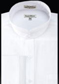 SKU#UZ284 French Cuff Banded Collar dress shirts Mandarin Collarless White