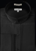 SKU#RC534 French Cuff Banded Collar dress shirts Mandarin Collarless Black
