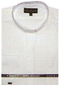 SKU#TY611 65% Poly Men's Banded Collar dress shirts Mandarin Collarless White