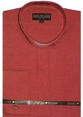 SKU#WW322 65% Poly Men's Banded Collar dress shirts Mandarin Collarless Red $39