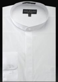 SKU#UB450 Basic Banded Collar dress shirts Mandarin Collarless White