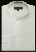 Basic Banded Collar Dress Shirts Mandarin Collarless Ivory $65