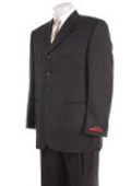 Mens Solid Black 4 buttons Super 120's Wool premier quality italian fabric Suit $149