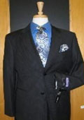 2 Button Charcoal Pinstripe Flat Front Wool Suit $199