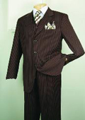 Chalk Bold Gangster Men's Super 150's Luxurious Fashion three piece suit Classic Stripe Design Brown $139