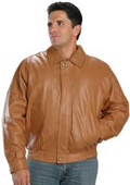 Classic Bomber Leather Jacket In Mango Color $199