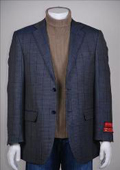 SKU#NH735 Jacket/Blazer Checker Glen Plaid 2 Button Vented Wool Navy $225