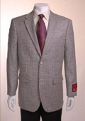 SKU#TF734 Houndstooth Textile Pattern Checks In Black And White Jacket/Blazer Gray Basketweave 2 Button Vented Wool $175