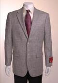SKU#TF734 Jacket/Blazer Gray Basketweave 2 Button Vented Wool $2255
