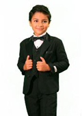 SKU#TU3088 Boy's 3 Piece Fashion Designer Tuxedo Black $79