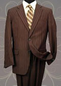 Classic 2PC 2 Button Brown Pinstripe Mens Suit $139
