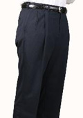 SKU#AL9235 Char Blue Parker Pleated Pants Lined Trousers