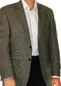 SKU#IL8906 Tan ~ Beige Check Two Button Fall/Winter Men's Sport Coat $175