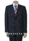 SKU# QP1291 Men's 2 Button Navy Blue Pinstripe Super 120's Wool Business Suits
