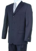 SKU S32 Liquid Navy Blue Pisntripe 3 Buttons Super 150s Wool Italian Wool Suits 199