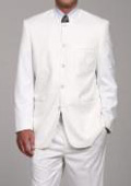 SKU#DL8882 Men's White Mandarin Collar Suit