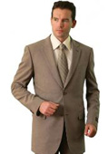 SKU#SF5388 Polyester/Wool Touch Men's Classic affordable suit online sale Tan ~ Beige